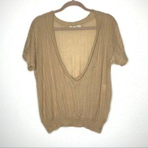 Stella McCartney tan vneck knit sweater